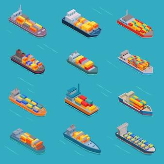 Tanque isométrico a granel petrolero buques o barcos de carga transporte y transporte de isometría por mar u océano ilustración conjunto buque engrasado aislado sobre fondo blanco