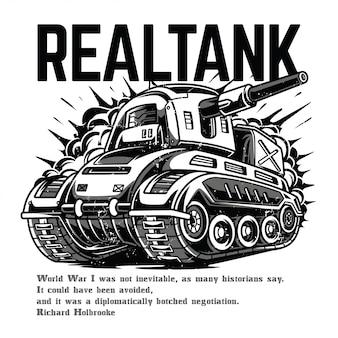 Tanque real blanco y negro