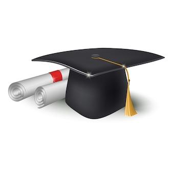 Tapa académica cuadrada y rollos de papel, diploma.