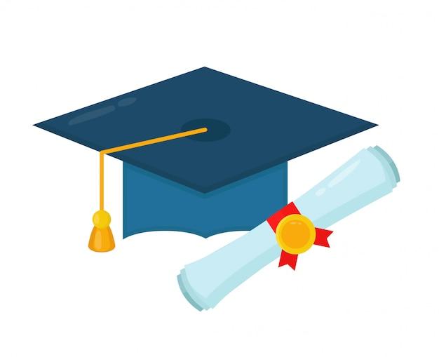 Tapa de graduación y diploma enrollado pergamino.
