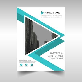 Tapa de libro triangular de un reporte anual azul