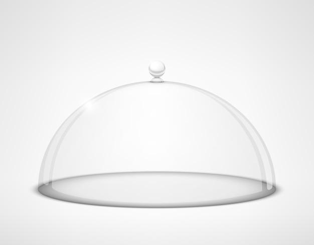 Tapa de media esfera transparente de vidrio con asa