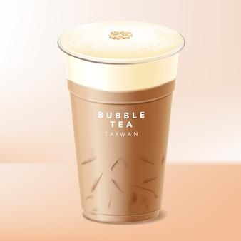 Tapa, tapa o tapa de leche helada té de burbujas taiwanés, café o chocolate