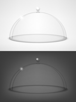 Tapas de vidrio semiesfera en blanco y negro