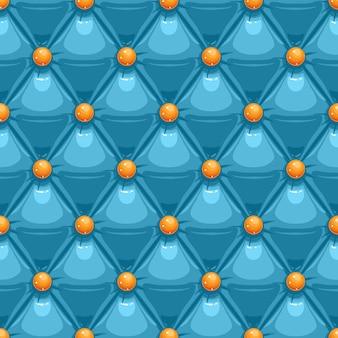 Tapicería de cuero azul con botones naranjas