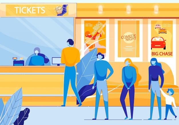 Taquilla de cine que vende entradas para películas planas