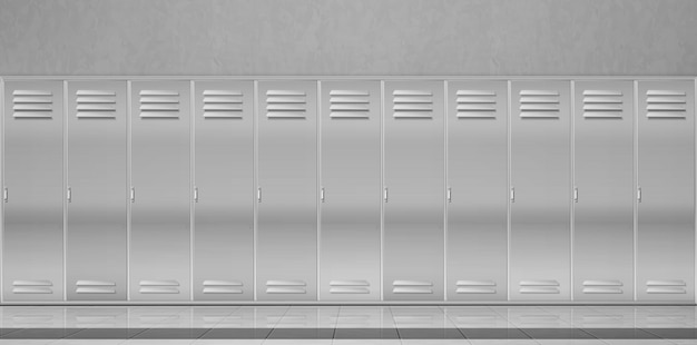 Taquillas de acero en el pasillo de la escuela o en el vestuario