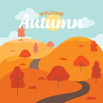 Por la tarde autumn hills con road