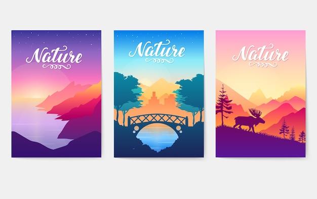 Tarde en un paisaje acogedor parque de la ciudad. siluetas de la naturaleza en colores matutinos.