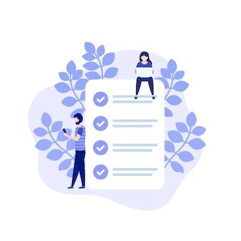 Tarea completada, lista de tareas pendientes o ilustración de lista de verificación