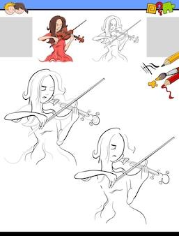 Tarea de dibujo y coloración con niña tocando el violín