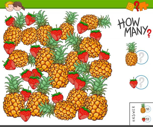 Tarea educativa de conteo para niños con frutas