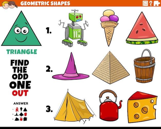 Tarea educativa para niños con objetos triangulares en forma geométrica