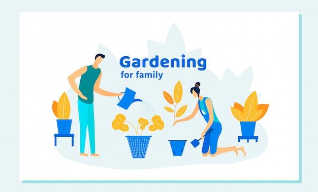Tarea de jardinería familiar feliz, cuidado de plantas.