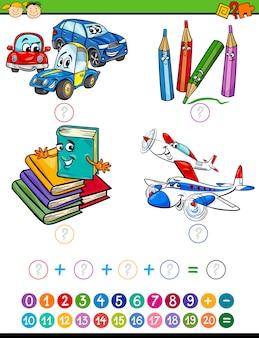 Tarea de matemáticas de dibujos animados para niños