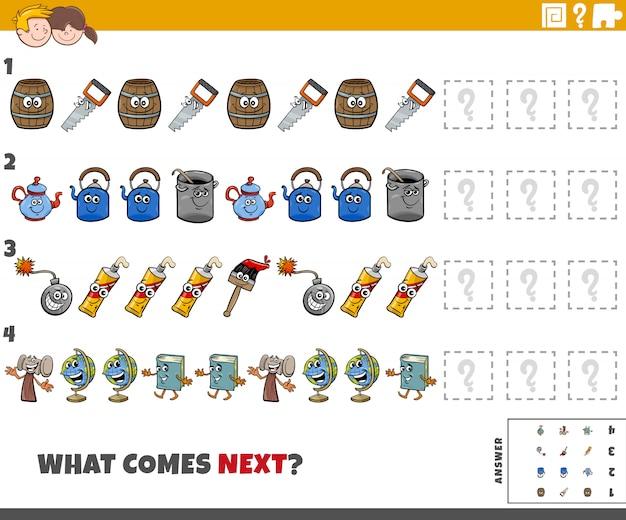 Tarea de patrón educativo para niños con objetos de dibujos animados