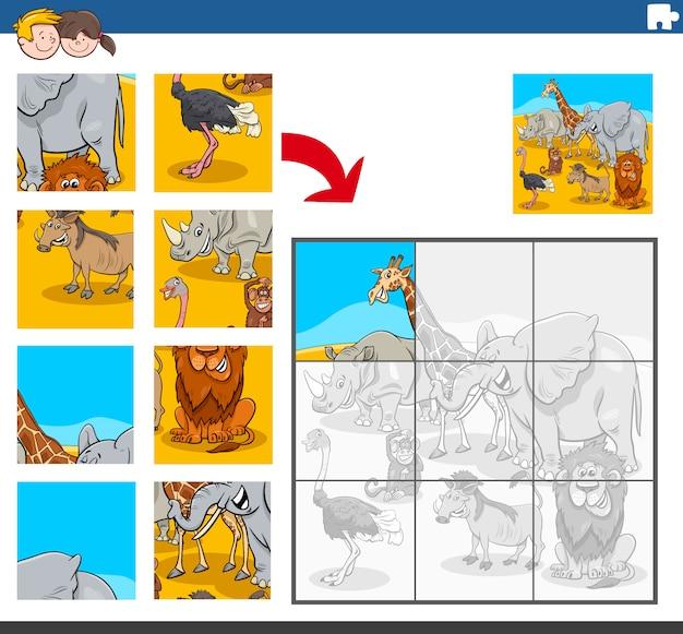 Tarea de rompecabezas con personajes de animales africanos