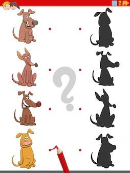 Tarea de sombra con personajes de perros de dibujos animados