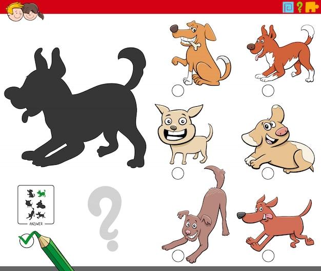 Tarea de sombras con personajes juguetones de perros