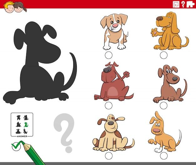Tarea de sombras con personajes de perros de dibujos animados
