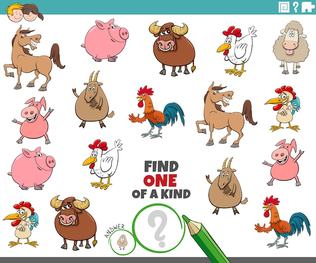 Tarea única para niños con animales de granja