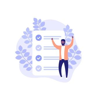 Tareas completadas, lista de tareas pendientes o ilustración vectorial de lista de verificación con un hombre