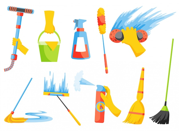 Tareas domésticas. equipos de limpieza del hogar. kit de limpieza una colección de iconos coloridos conjunto aislada en blanco