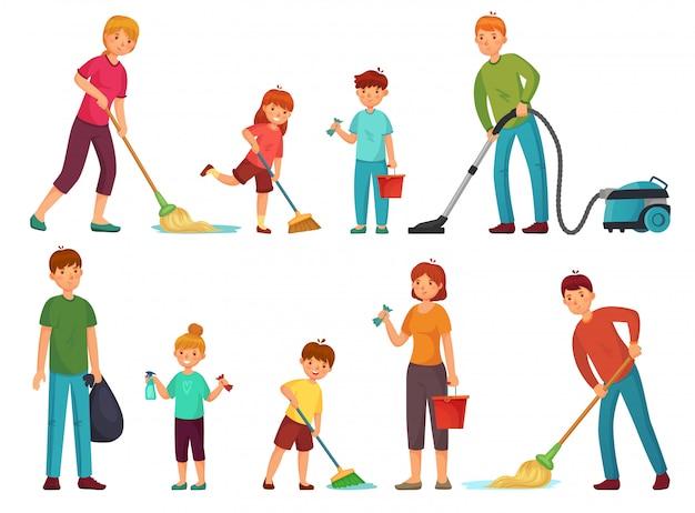 Tareas domésticas familiares. los padres y los niños limpian la casa, limpian con la aspiradora y lavan el conjunto de ilustración de dibujos animados del piso