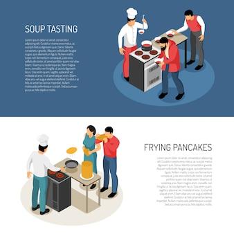 Tareas de preparación de alimentos del cocinero del cocinero, pancartas horizontales isométricas con fritura de panqueques, sopa, sabor, control, ilustración vectorial