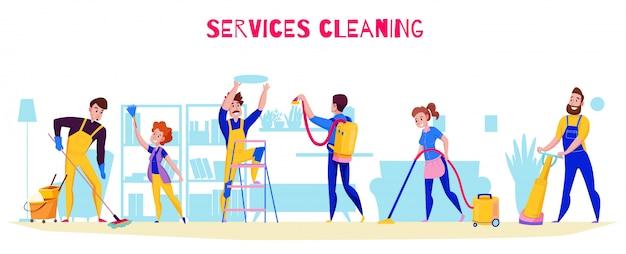 Las tareas profesionales del servicio de limpieza ofrecen una composición horizontal plana con lavado de pisos, pulido, estanterías de aspiración, ilustración de polvo