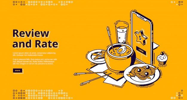 Tarifa de restaurante, banner isométrico de revisión del cliente