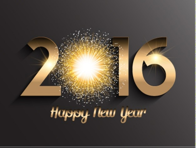 Tarjeta con 2016 dorado y fuego artificial