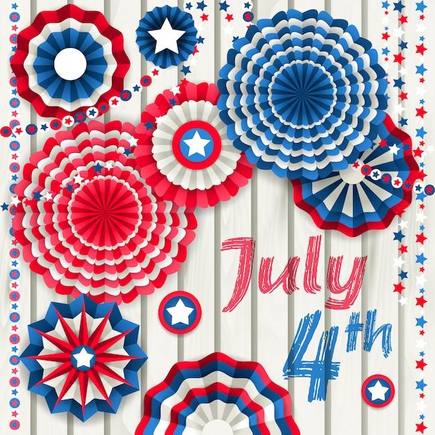 Tarjeta del 4 de julio con molinetes de papel colgando de una valla de madera.