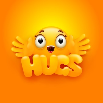 Tarjeta de abrazos. personaje de emoji amarillo en estilo de dibujos animados 3d.
