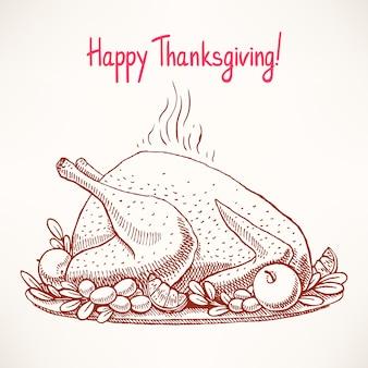 Tarjeta de acción de gracias. apetitoso pavo frito. dibujado a mano.