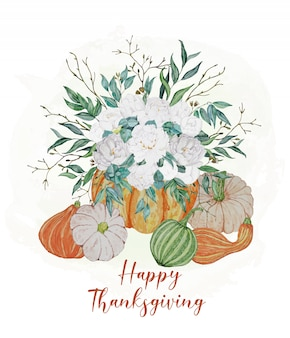 Tarjeta de acción de gracias con calabazas y flores blancas