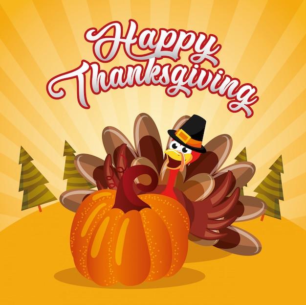 Tarjeta de acción de gracias con dibujos animados de pavo con pumpking