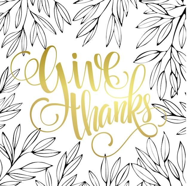Tarjeta de acción de gracias con diseño de letras doradas brillantes