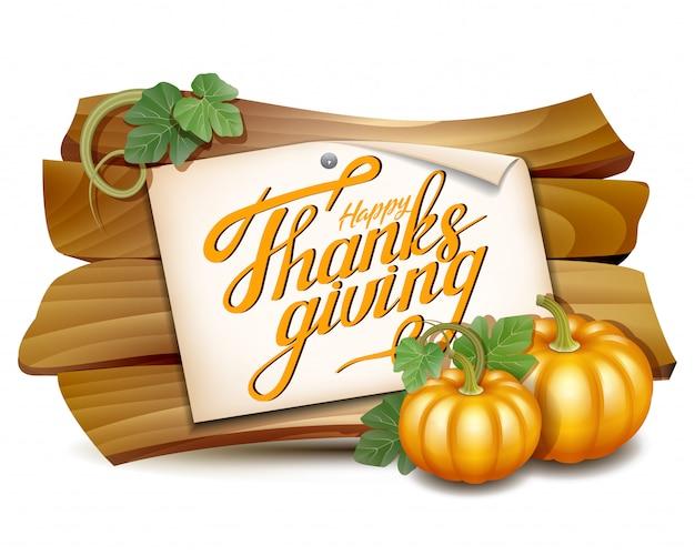 Tarjeta de acción de gracias con pancarta de madera y calabazas con hojas