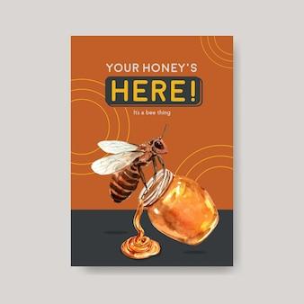 Tarjeta de acuarela de abeja de miel