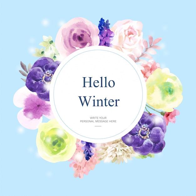 Tarjeta de acuarela floración invernal con tema floral