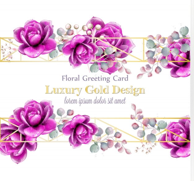 Tarjeta acuarela de lujo rosa flores