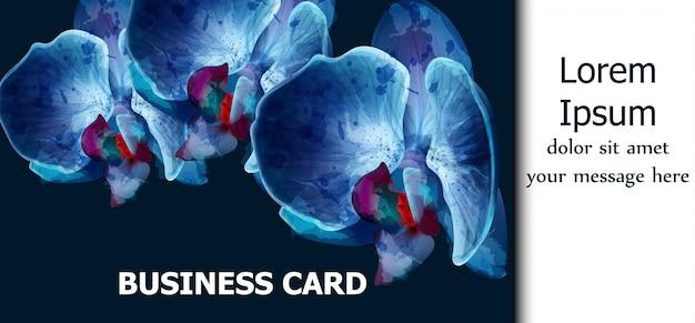 Tarjeta de acuarela de orquídeas azules