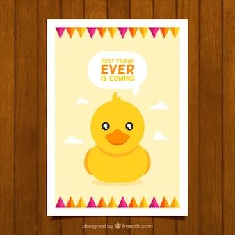 Tarjeta de adorable pato