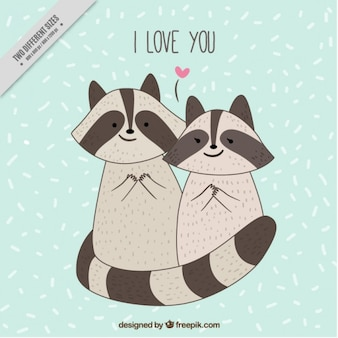 Tarjeta de adorables mapaches