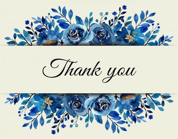 Tarjeta de agradecimiento con acuarela floral azul