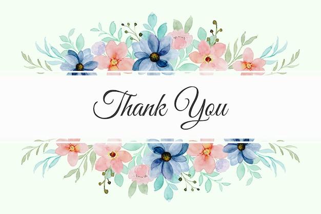 Tarjeta de agradecimiento con acuarela floral colorida