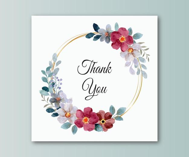 Tarjeta de agradecimiento con acuarela de flores