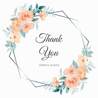 Tarjeta de agradecimiento con acuarela de marco de flor color de rosa