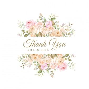Tarjeta de agradecimiento de boda con hermosa plantilla floral